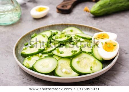Főtt tyúk tojások reggeli felszolgált fehér Stock fotó © stevanovicigor