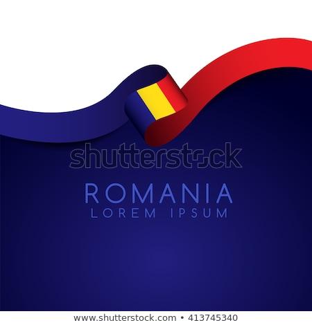 Bandiera Romania idea design rosso Foto d'archivio © kiddaikiddee