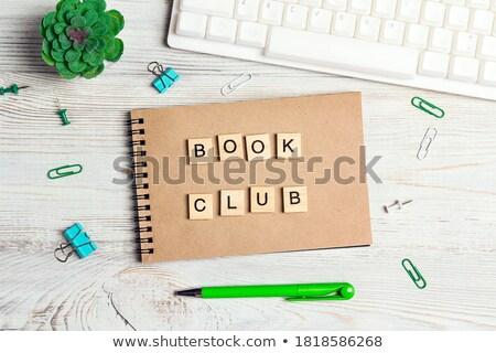 Tanul könyv felirat terv kockák fehér Stock fotó © marinini