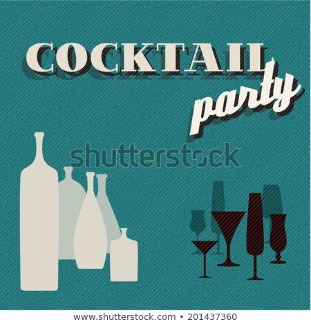 retro teal coctail party invitation card stock photo © orson