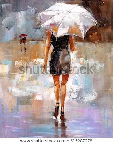очаровательный · Lady · зонтик · изолированный · белый · девушки - Сток-фото © pugovica88
