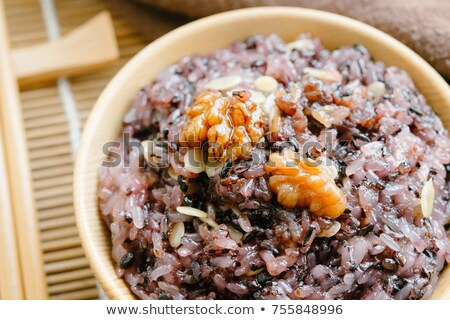 Close up of cooked mix white and brown rice  Stock photo © nalinratphi