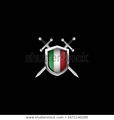 two sword and shield on white background isolated 3d image stock photo © iserg