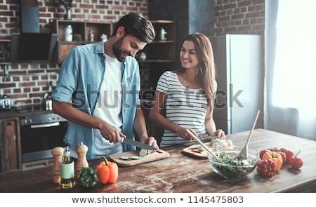 lunch · keuken · vrouw · glimlach · man - stockfoto © jiri_miklo