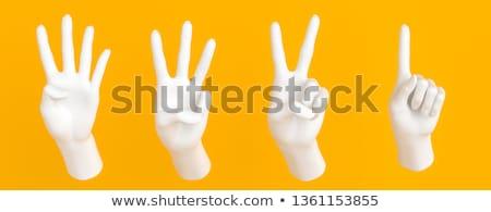 kéz · kettő · ujjak · felfelé · béke · győzelem - stock fotó © bloodua