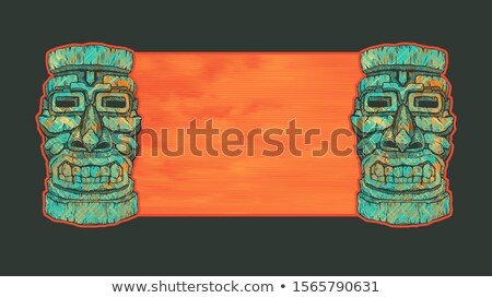 ステンシル 実例 ハワイ 花 デザイン ヤシの木 ストックフォト © lenm