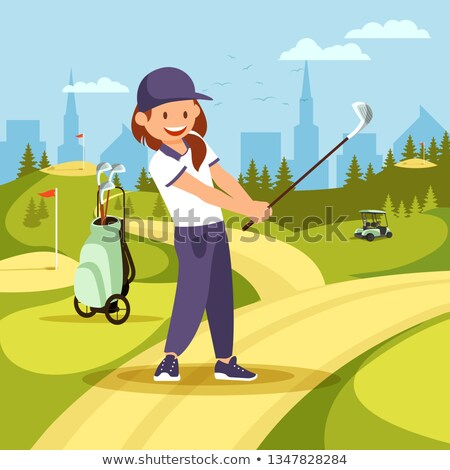 vrouw · spelen · golf · achteraanzicht · club · kleur - stockfoto © lineartestpilot