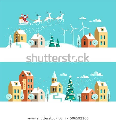flat design winter snowy landscape stock photo © orson