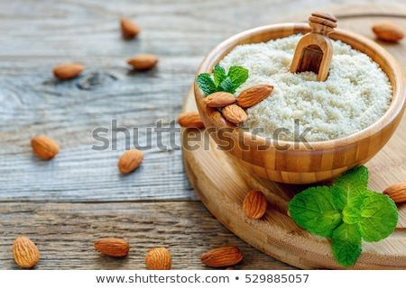 Amandel meel vruchten keuken tabel vet Stockfoto © yelenayemchuk