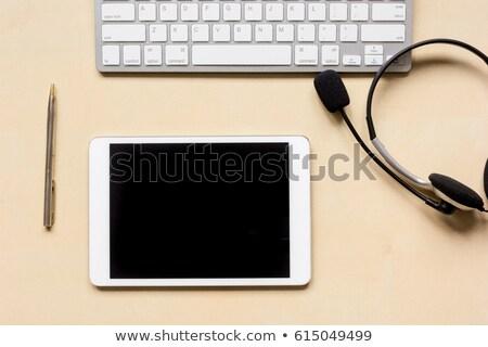 ストックフォト: タブレット · デスク · ヘルプデスク · コーヒー · ペン · 技術