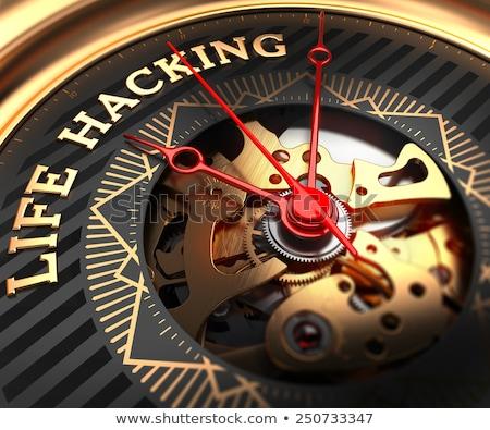 Leven hacking horloge gezicht mechanisme full frame Stockfoto © tashatuvango