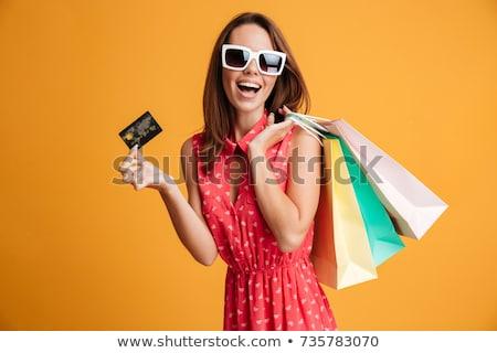 Stockfoto: Gelukkig · kaukasisch · vrouw · creditcard
