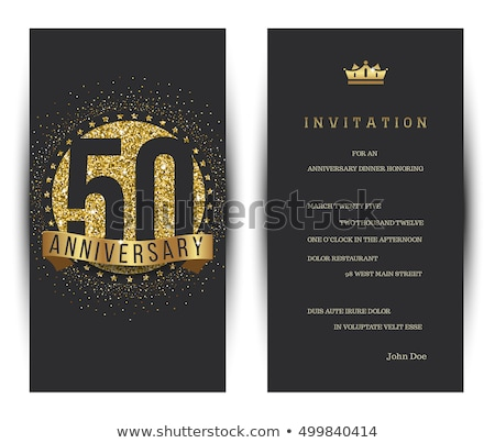 ötvenedik évforduló meghívó illusztráció fekete díszítő Stock fotó © Irisangel