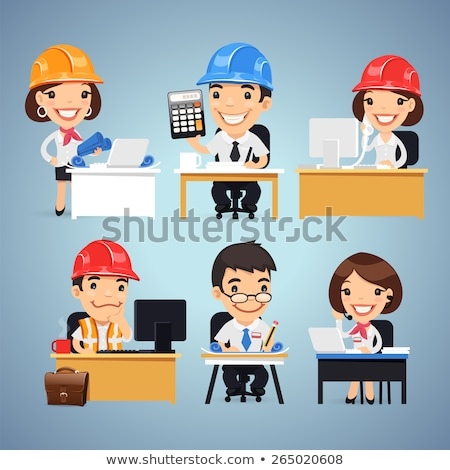 engineers cartoon characters at the table set stock photo © voysla