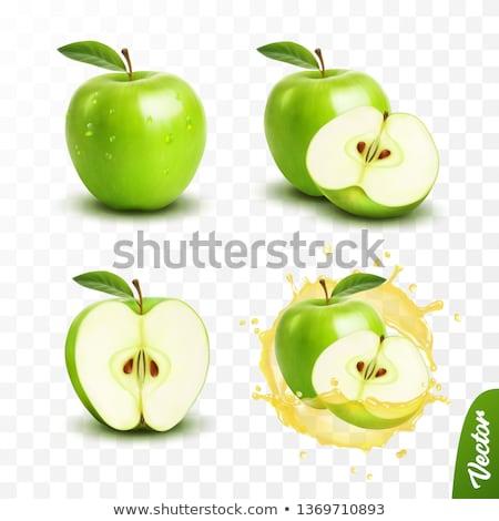 alma · zöld · érett · gyümölcs · ikon · izolált - stock fotó © oblachko