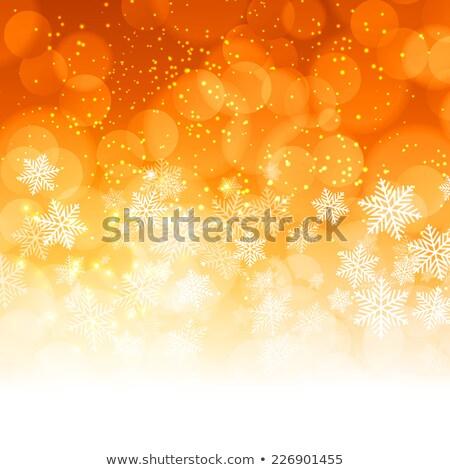 Blanche flocons de neige orange frontière espace de copie design Photo stock © PokerMan