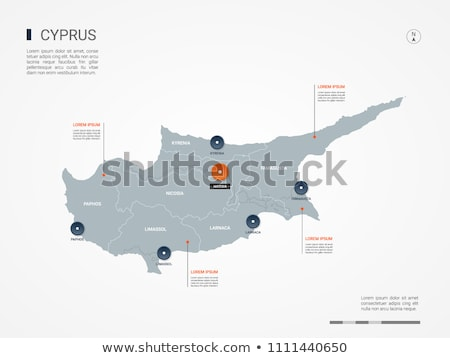 orange button with the image maps of Cyprus  Stock photo © mayboro