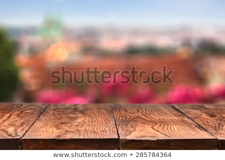empty wooden table with prague on background stock photo © artjazz
