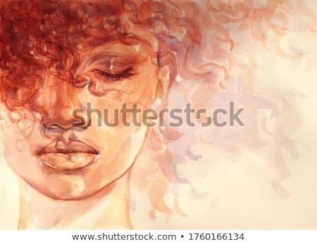 невероятный · брюнетка · женщину · вьющиеся · волосы · Lady · лице - Сток-фото © pawelsierakowski