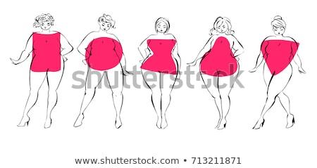 Plus size moda kobieta wektora sexy miejskich Zdjęcia stock © carodi