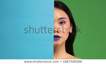 csinos · több · nemzetiségű · lány · csukott · szemmel · fej · lövés - stock fotó © feverpitch