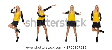 blond hair girl in yellow and black clothing isolated on white stock photo © elnur
