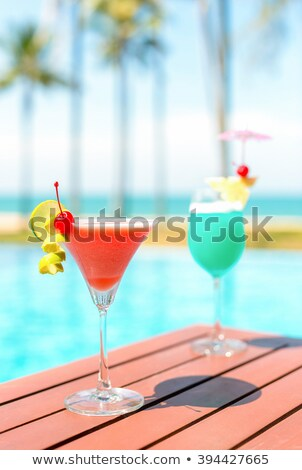 red and blue cocktail glasses stock photo © daboost