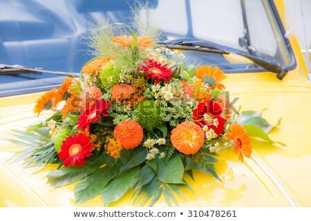 Bridal Bouquet On A Yellow Wedding Car Zdjęcia stock © manfredxy