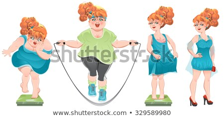 She lost weight. Set weight loss woman, before after. Stock photo © orensila