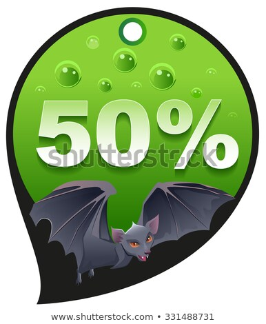 Horrible Halloween discount sale. Coupon 50 percent discount consumerism. Bat Stock photo © orensila