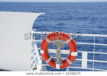 Seyir beyaz tekne tırabzan mavi deniz Stok fotoğraf © lunamarina