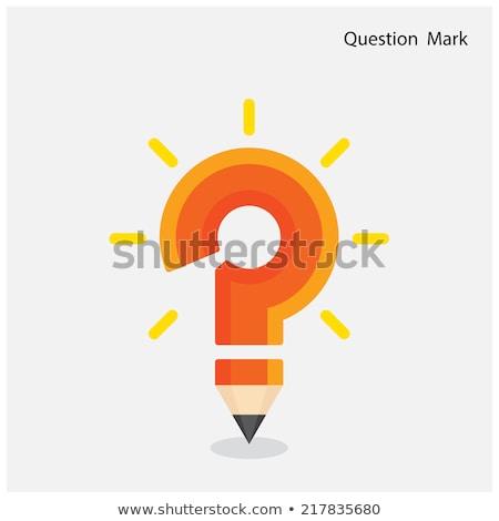 Lápiz amarillo forma signo de interrogación blanco Foto stock © 3mc