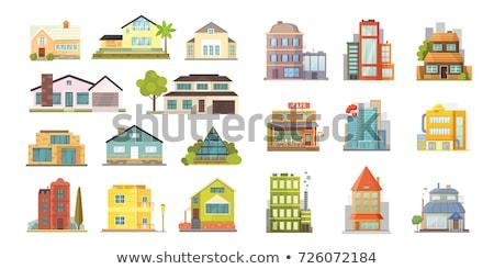 Különböző otthon házak szett zöld léggömb Stock fotó © mayboro1964