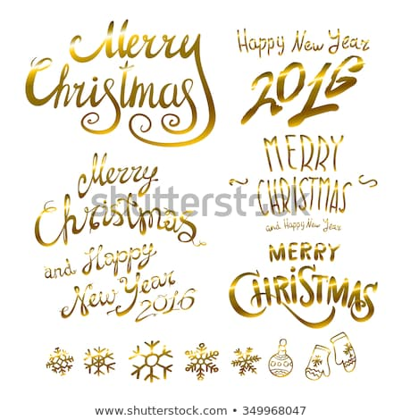 golden glowing Merry Christmas and happy New Year 2016 lettering collection. Vector illustration   Stock photo © rommeo79