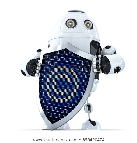 robot with shield and copyright symbol on it isolated contains clipping path stock photo © kirill_m