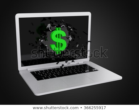 Green dollar sign destroy laptop Stock photo © teerawit