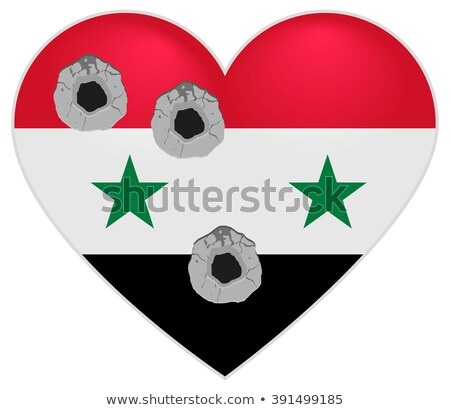 Flag of Syria. Syria Heart pierced by bullets. Bullet holes in heart of Syria Stock photo © orensila