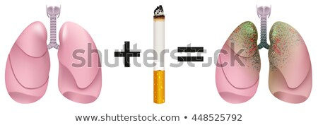 Healthy lungs plus cigarette result of lung cancer. Harm of smoking Stock photo © orensila