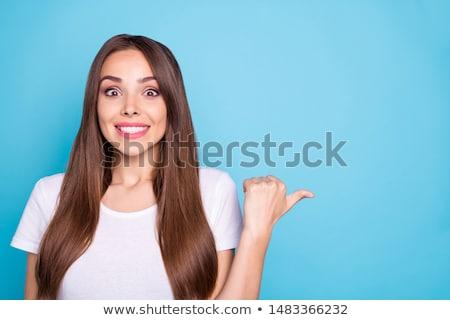 Stock fotó: Fotó · imádnivaló · barna · hajú · lány · elképesztő · hosszú · haj