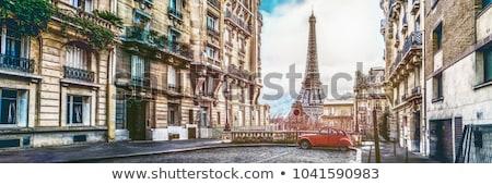 klasszikus · Eiffel-torony · kép · Párizs · égbolt · fém - stock fotó © photocreo
