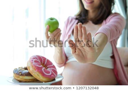 Kövér hölgy eszik étel fogyókúra nő Stock fotó © jossdiim