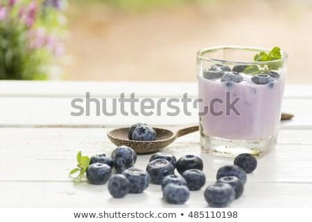 Joghurt kék bogyó friss fából készült fehér Stock fotó © Bigbubblebee99