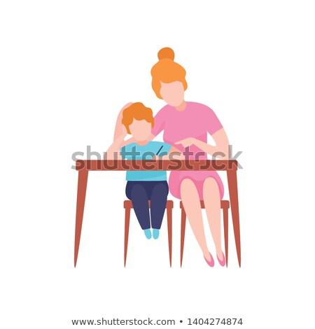 Faceless little boys writing Stock photo © bluering
