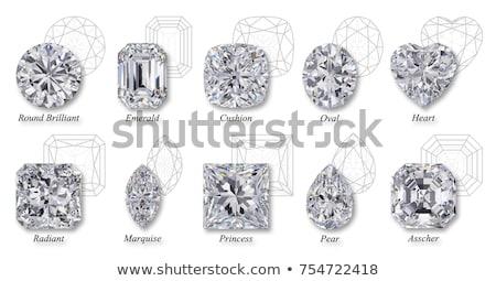エメラルド カット ダイヤモンド 心臓の形態 白 ストックフォト © Arsgera