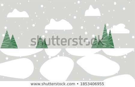 Inverno azul flocos de neve vetor ilustração modelo Foto stock © Galyna