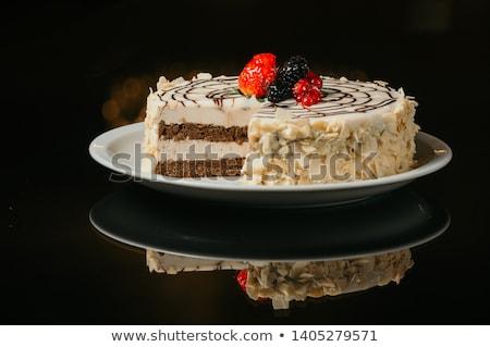 Mandula piskóta szelet pelyhek étel torta Stock fotó © Digifoodstock