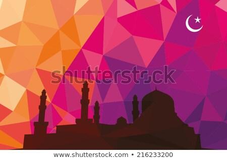 colorido · mosaico · diseno · mezquita · negro · silueta - foto stock © kkunz2010