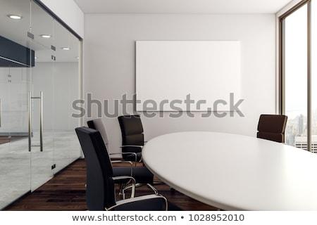 felfelé · fehér · tiszta · poszter · szoba · fapadló - stock fotó © cherezoff