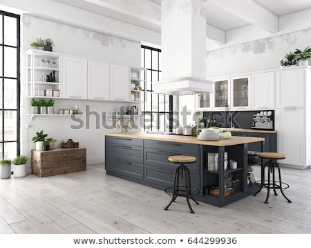 Stock photo: 3d rendering of kitchen interior in modern home with dinner tabl