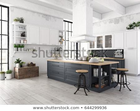 3D · интерьер · кухни · современных · домой · обеда - Сток-фото © kzenon